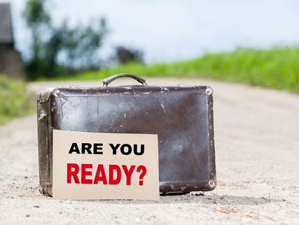 "koffer met ""are you ready?"""